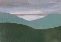 Rheidol Valley Mountains II, Acrylic on A5 Canvas Board, Rheidol Valley Mountains II