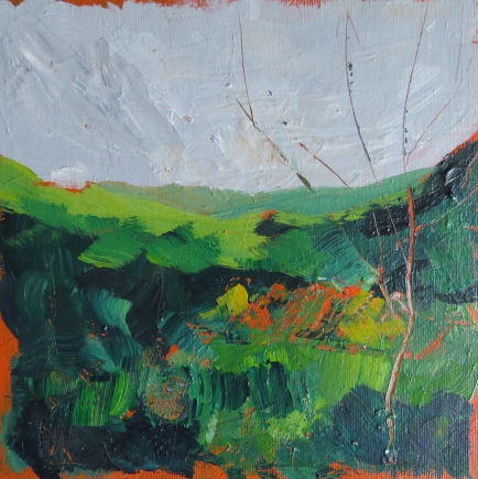 Hafod Hills II, Acrylic on Square Canvas Board